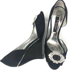 NINA wedge heel peep toe crystals embellished pump